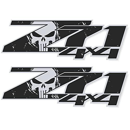 z71 Black Decals, 4x4 Chevy Silverado Truck Stickers Emblem (Black + Silver)