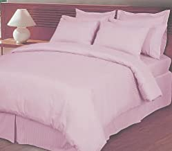 1000 Thread Count Three (3) Piece Queen Size Stripe Duvet Cover Set, 100% Egyptian Cotton, Premium Hotel Quality Queen Pink COMIN16JU009279