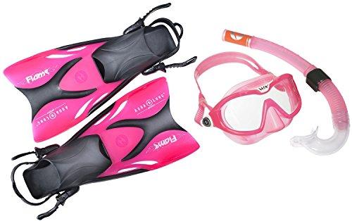 AQUALUNG Schwimmflossen Schnorchel Set für Kinder bestehend aus Flossen Schnorchel Tauchmaske (Exclusiv pink transparent, 27-32)
