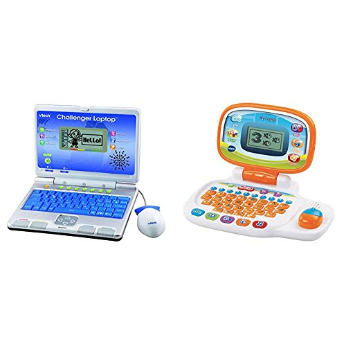 VTech Challenger Laptop, 64973 & 155403 Pre School Laptop Interactive Educational Kids Computer Toy with 30 Activities Suitable for Children 3, 4, 5+ Year Olds Boys & Girls, White/Orange