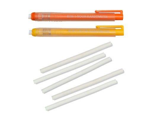 2pieza KOH-I-NOOR goma de borrar Lápices Borrador Set en forma de bolígrafo (Amarillo + Naranja) 12,5cm de largo Plus 5gomas de recambio