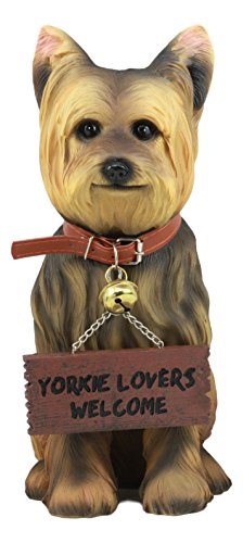 Ebros Gift Realistic Yorkie Dog Statue 12.5' H Yorkshire Terrier Figurine with Jingle Collar and Sign Patio Welcome Decor Guest Greeter Realistic Animal Dogs Sculpture (1)