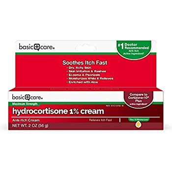 Amazon Basic Care Hydrocortisone 1% Anti-Itch Cream White 2 Ounce  Pack of 1