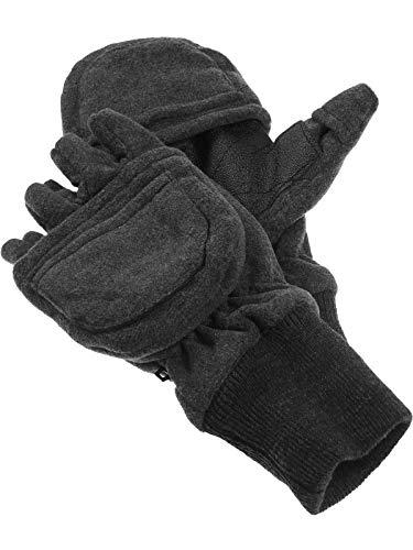 Claus Modes Fleece Handschuhe mit Thinsulate und Klappe Strickbund, Farben:grau, Handschuhgröße:Damen