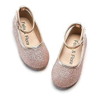Felix & Flora Toddler Little Girl Pink Dress Shoes - Mary Jane Ballet Flats Size 10 for Flower Girl Party School Shoe
