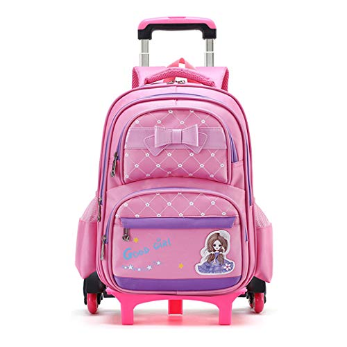 Girl Waterproof Elementary Trolley Rolling School Backpack 2 Wheels 6 wheel-B-6wheel