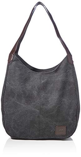 HMwish Fashion Damen Canvas Handtasche Damen Shopper Bag Schultertasche Tasche Henkeltaschen-Schwarz
