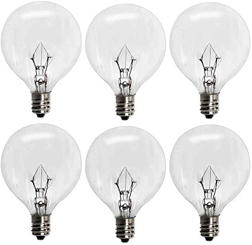 6 Pack 25 Watt 120V Light Bulbs for Scentsy Plug-in, Nighttime Warmer, Wax Melts Scented Candle Wax