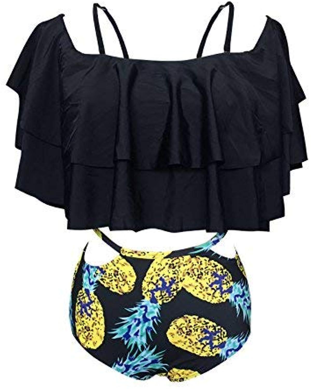 Oudan Lotus Leaf Edge Shorts Badeanzug Stempel Shorts Schulter Schulter Schulter Bikini Bademode, Schwarz (Farbe   Wie Gezeigt, Größe   Einheitsgröße) B07MG33FV9  Erschwinglich 226c39
