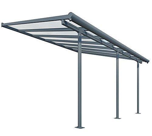 Palram Hochwertige Aluminium Terrassenüberdachung, Terrassendach Sierra 299x555 cm (TxB) - grau inkl. Befestigung und Regenrinne