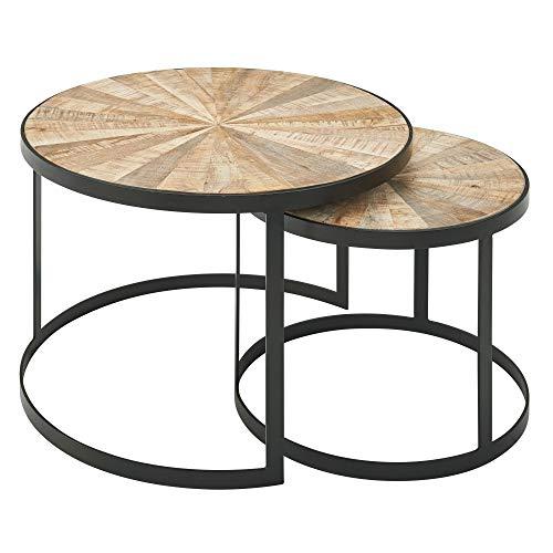 Wohnling Mesa de café de diseño, juego de 2 unidades, madera maciza de mango, mesa redonda para salón con patas de metal marrón, juego de 2 piezas, mesa nido de madera y metal, color negro