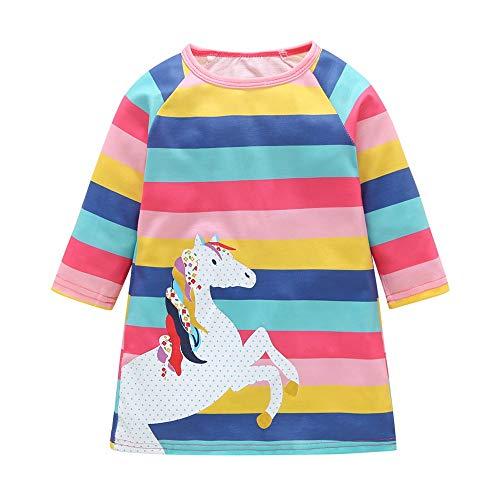 Kobay Baby Mädchen Langarm Karikatur Gestreift Pony Tier Drucken Beiläufig Kleider(3-4T,Mehrfarbig)