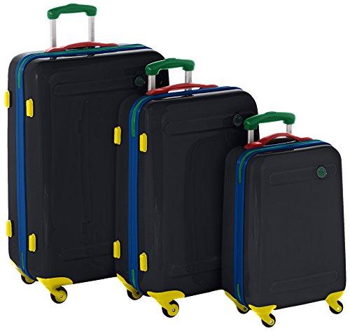 Benetton Lote de 3 Maletas Con Ruedas SLASH_58373349_NEGRO-MULTI 21 L