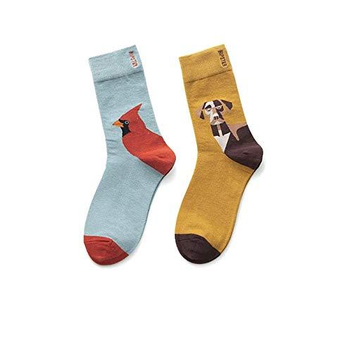 Sokken bont, 3 paar lente en zomer, blauw-gele sokken, modieus, minimalistisch dierpatroon, katoen, ademend, comfortabele slang, mannen- en vrouwelijk, paar katoenen sokken per paar