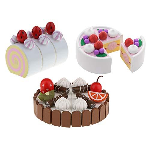 lahomia 3 Pezzi Bambini Magnetici Frutta Torta Prescolare Ruolo Casa Cucina Gioco Giocattoli