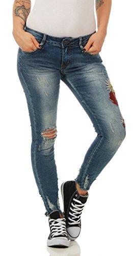 Fashion4Young 5237 Damen Jeans Hose Röhrenjeans Boho-Stickerei Damenjeans Pants Slim-Fit (blau, S-36)