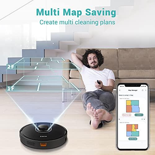 Saugroboter Zigma Saug- und Wischroboter, 2000Pa WLAN Staubsauger Roboter mit Intelligenter Navigation, mit Siri, Alexa & App-Steuerung , 600ml Staubbehälter, 360ml Wassertank, für mehrere Etagen