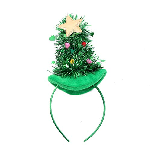 Lurrose Diademas de Árbol de Navidad con Campana Banda de Cabeza Accesorios Disfraz de Navidad Sombrero de Navidad