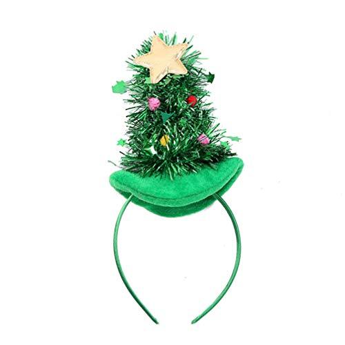 Lurrose Kerstboom hoed haarband met klokjes ster en lametta kerstmuts Kerstmis haaraccessoires hoofdtooi hoofddeksel kerstdecoratie voor kinderen volwassenen