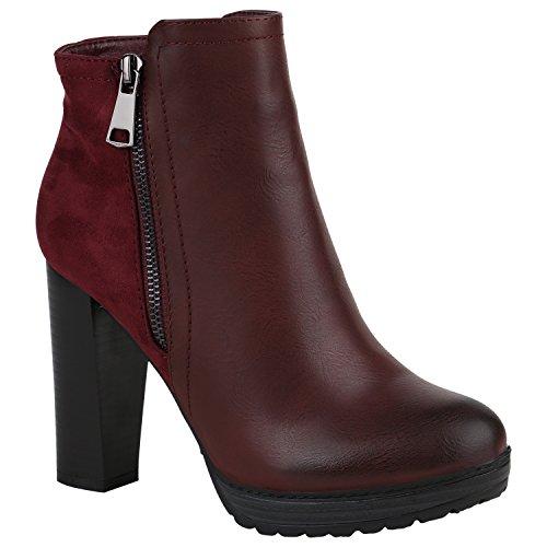 Damen Stiefeletten Plateau-Boots Zipper Holzoptikabsatz Schuhe 152242 Dunkelrot Zipper 40 Flandell