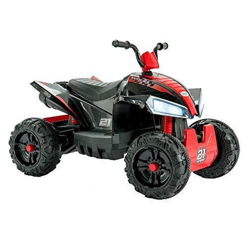 Uenjoy 12V Kids ATV 4 Wheeler Ride On Quad Battery Powered Electric ATV for Kids, 2 Speeds, Wheels Suspension, LED Lights, Music (Red&Black)