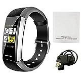 Rejoicing Smartwatch V1 Smart-Sport-Armband Herzfrequenz-Monitor für das Motoren, Blutsauerstoff, Gesundheit und Musiksteuerung, Verschiedene Zifferblätter Schwarz