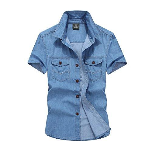 Ommda Herren Denim Hemd Kurzarm Jeanshemd Regular Fit Freizeithemd Hellblau XL