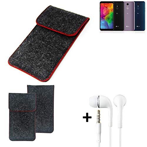 K-S-Trade® Handy Schutz Hülle Für LG Electronics Q7 Alfa Schutzhülle Handyhülle Filztasche Pouch Tasche Case Sleeve Filzhülle Dunkelgrau Roter Rand + Kopfhörer