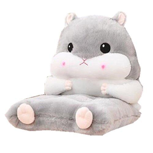 Fat rabbit Cartoon Cute Hamster Chair Cushion Back pad, Padded Warm Hand Pillow (Gray)