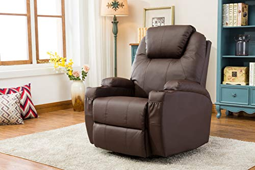 MCombo Massage Armchair Recliner Brown with Heating Swivel Swing