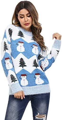 Aibrou Su/éter de Navidad para Familia,Jersey de Copos de Nieve de Renos navide/ños para Mujer Hombre,Jersey Pullover de Punto Vintage de Inviernno Manga Larga para Ni/ño Ni/ña