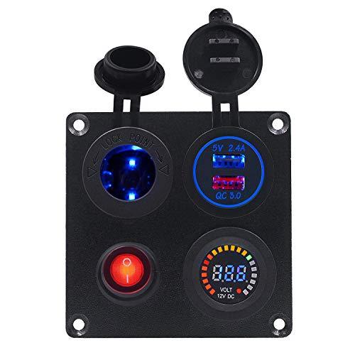Interruptor de encendido 12V Plato cuadrado de aluminio con el interruptor independiente y titular de la lámpara, color de la pantalla del voltímetro Combinación doble panel USB, conveniente for Carav