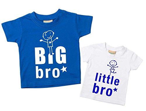 60 Second Makeover Limited Big Bro Petit Frère T-Shirt Set Brother Tshirts Frères Bébé Tout-Petit Enfants Bleu ou Rouge Nouveau bébé Sœur Cadeau - Bleu, Petit 12-18 Mois - Grand 5-6 Ans