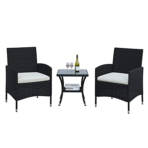 POVISON Patio Furniture Rattan Chairs Sets 3 Pieces, PE Rattan Wicker Chairs Conversation Set with...