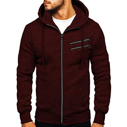 Alwayswin Herbst Winter Herren Langarm Sweatshirt Einfarbig Mode Hoodies O-Ausschnitt Lange Hülsen Top Bluse Trainingsanzüge Slim Fit Pullover mit Kapuze Outwear
