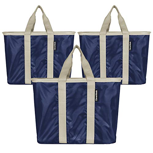 CleverMade - 7100-4029-01103PK SnapBasket Reusable Grocery Shopping Bags with Reinforced Bottom and Zippered Storage Pocket, Collapsible Durable Premium Utility Totes, 20L Size, Navy/Cream, 3 Pack