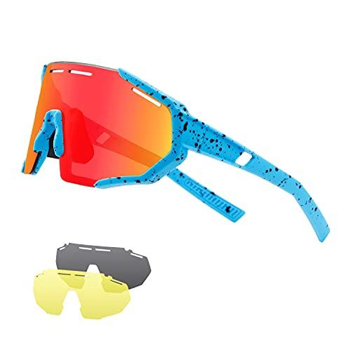 DUDUKING Gafas Sol Polarizadas Hombre Mujer Gafas de Sol Deportivas UV 400 Protección Gafas con 3 Rodajas De Lentes Intercambiables para Ciclismo Correr Golf Beisbol Surf Conducción Esquiando