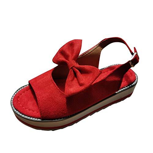 YANFANG Plataforma De Moda para Mujer Zapatos Casuales Individuales Bowknot Sandalias con Hebilla CuñA,2021 Primavera Retro Cabeza Redonda CuñAs Casual Verano Alpargatas Cerrada Mocasines,40,Rojo