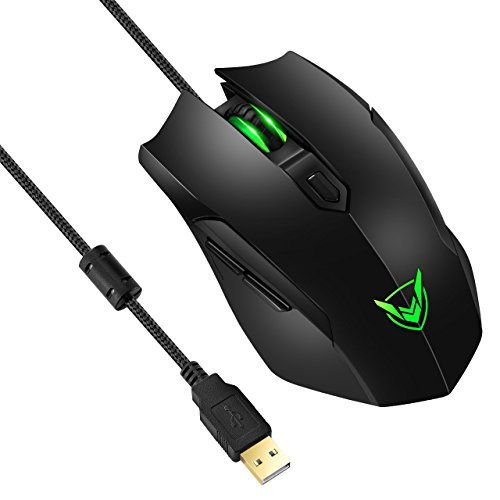 Gaming Mouse Wired, Pictek Gaming Mice (3200DPI 4 Adjustable Levels, 6 Buttons) Ergonomic USB Wired Mouse Gamer Optical Desktop Laptop Computer PC Gaming Mouse with Auto Breathing Lights, Black