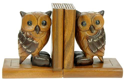 Namesakes Eulen Buchstützen x 2 : Handgeschnitzte hölzerne tierische Verzierung : Qualitätsweihnachtsgeschenk für Männer u. Frauen : Traditionell Handgefertigt aus Holz: Haus Dekoration