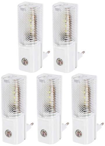 LED-nachtlampje voor stopcontact 230 V, met schemeringssensor, auto aan uit, slechts 1 W verbruik, koudwit (6000 K), verpakking van 5 stuks