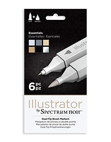Illustrator by Spectrum Noir 6 Piece Twin Tip Artist Alcohol Marker, Essentials