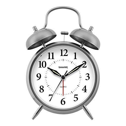 Sharp SPC800 Quartz Analog Twin Bell Alarm Clock (Silver)