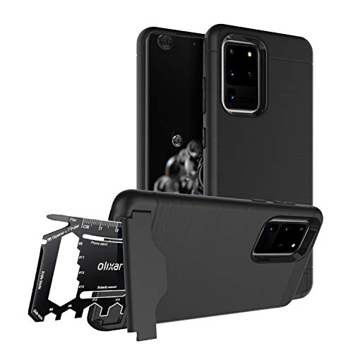 Olixar Tough Case for Samsung Galaxy S20 Ultra, with 26 in 1 Survival Multi Tool - Protective Armour Cover - Credit Card Slot & Built in Stand - X-Ranger - Black