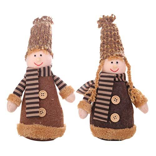 2pcs Elf en Peluche de Noël en Peluche Jouets de Noël Doll Décoration Elf Cadeau avec Bonnet for Table Cheminée étagère ornamen - Garçon + Fille zcaqtajro