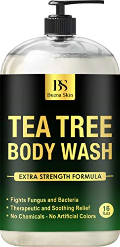 Tea Tree Oil Body Wash - Antibacterial Soap for Acne, Body Odor, Foot & Toenails - Shower Soap for Bacteria, Athletes Foot, Eczema, Ringworm & Jock Itch Treatment In Men & Women 16 oz