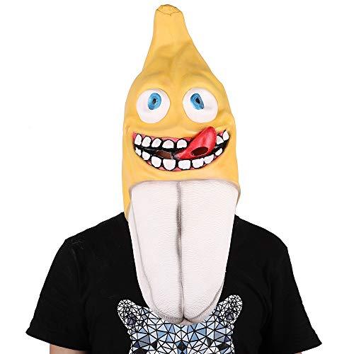 FYMDHB886 Halloween Kostüm Maske Lustige Bananen Maske Maskerade Umweltfreundlich Latex Kopf Maske Cosplay Prop Gelb
