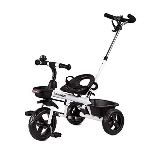 Carretilla Sillas De Paseo Bicicleta con Empuñadura Cochecito De Conveniencia Ruedas Interiores Y Exteriores Freno (Color : White)