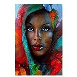 Pinturas de lienzo de arte abstracto de mujer africana de ojos azules en la pared, carteles e impresiones artísticos de mujer negra, imágenes artísticas para decoración del hogar, 20X28 pulgadas