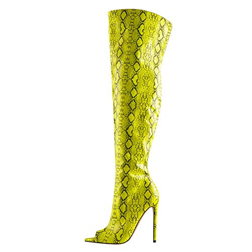MissHeel Damen Peeptoe Overknee Stiefel Stiletto Fashion Snake-Print Reißverschluss Neongelb 44 EU